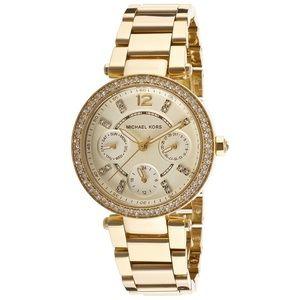 NIB Michael Kors Gold Mini Parker Crystal Watch